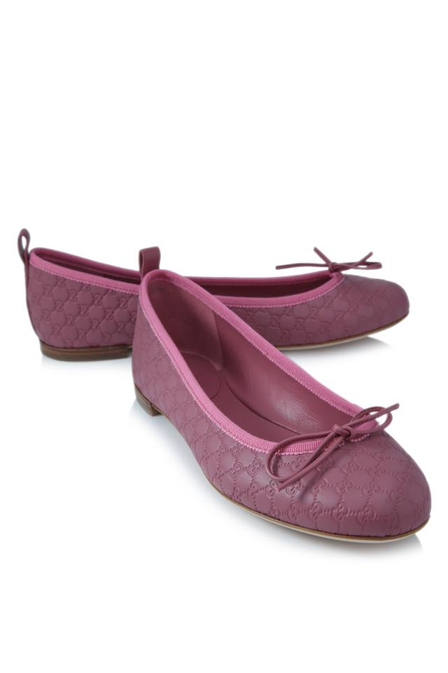 eafc6e46a Gucci Pink New Women s Microguccissima Bow Ballet Suede 38 283486 Flats