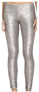 Amuse Society Sequins Low Waist Lined Silver / Pewter Leggings
