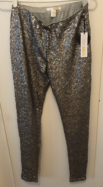 Amuse Society Sequins Low Waist Lined Silver / Pewter Leggings Image 5