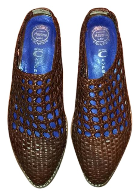 Item - Brown Leather Armadillo Woven Mules/Slides Size US 6 Regular (M, B)