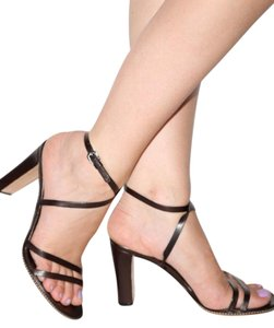 Jil Sander Leather Strappy Dark Brown Sandals