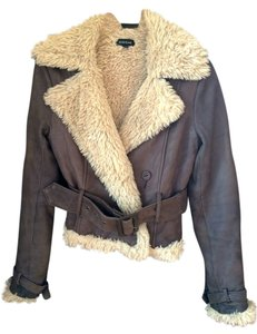 bebe Leather Chocolate Brown Leather Jacket