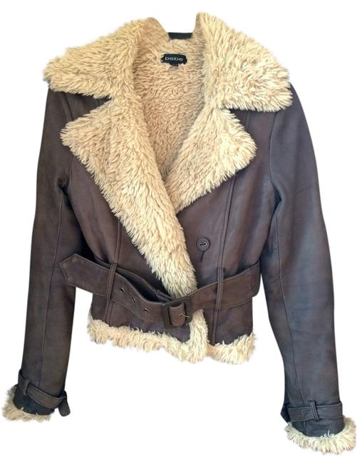 bebe Chocolate Brown Leather Jacket
