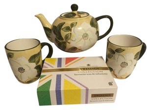 Magnolia Blossom Tea Set For 2 & Twinings 60-pc. Collection Fine Teas [ Roxanne Anjou Closet ]