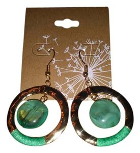 Bealls Gold tone dangle hoops w/teal green accents & stones