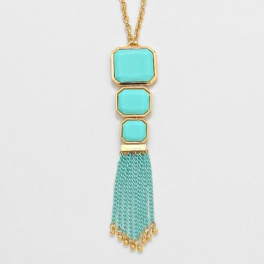 Other Teal Blue Turquoise Gold Chain Accent Necklace and Earring Set
