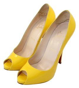 Christian Louboutin Heels Penny Lane Mimosa Yellow Patent Pumps