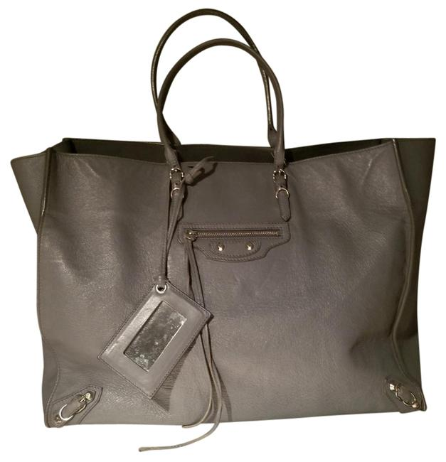 Item - Papier with Silver Lining Grey Leather Tote