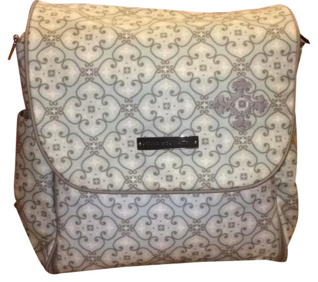 Item - Backpack Boxy Light Blue and Grey Glazed Canvas Diaper Bag