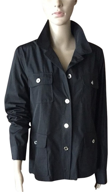 Item - Black with Silver Buttons Spring Rain Sports Jacket Size 4 (S)