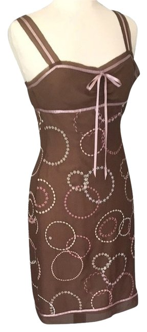 Preload https://item3.tradesy.com/images/bcbgmaxazria-brown-with-pink-and-white-embroidery-cocktail-dress-size-4-s-2194392-0-0.jpg?width=400&height=650