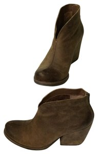 Kork-Ease Leather Zipper Chunky Heel Brown Boots