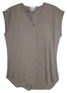 Van Heusen Cap Sleeve Crinkle Lightweight Button Down Shirt olive green
