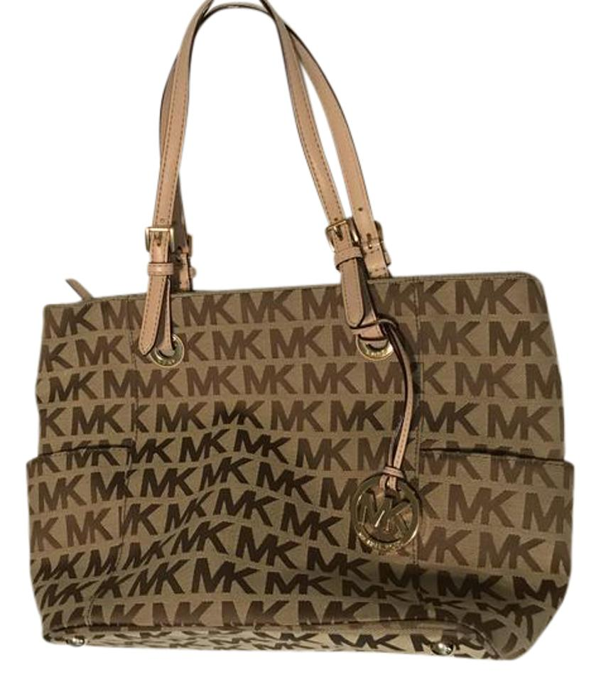 33bd12308bd Michael Kors Jet Set Ns New With Beige Tan Canvas Tote - Tradesy