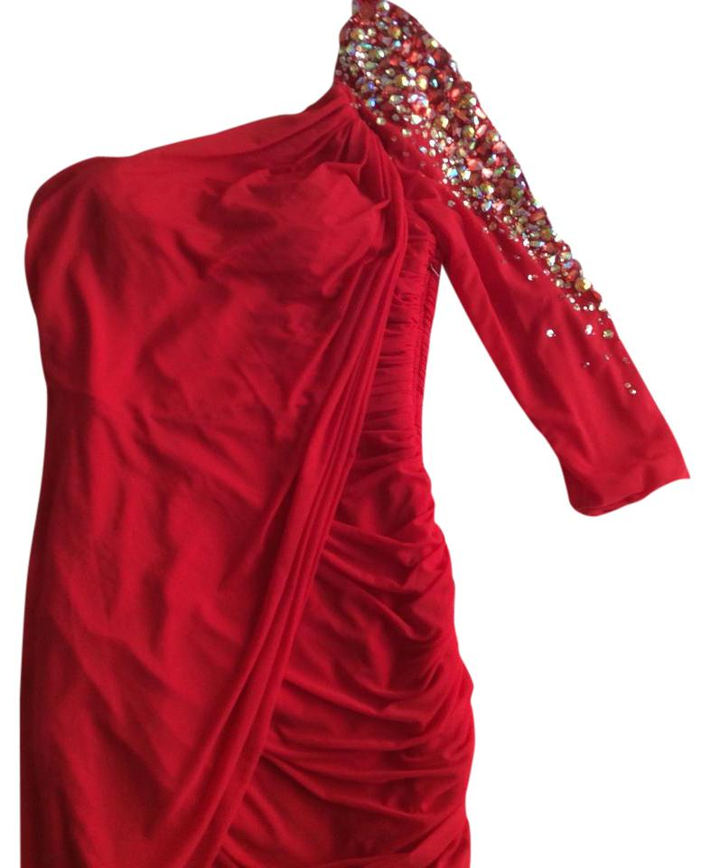 Terani Couture Red Short Cocktail Dress Size 6 S Tradesy