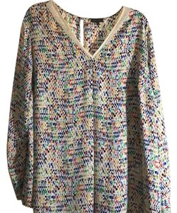 Vince Camuto Top blue, red, green, yellow and cream