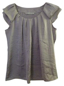 Larry Levine Crinkle Cap Sleeve Sheen Top grey