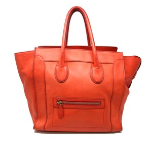 Céline Tri Color Caviar Jumbo Spazzolato Studded Satchel in Red