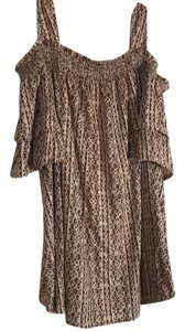 Chico's Top mocha brown and tan