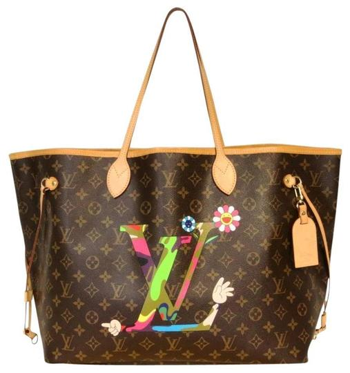 Louis Vuitton Speedy Damier Azur Takashi Neverfull Tote in Brown