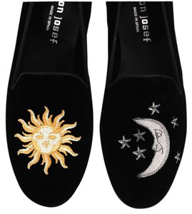 Free People Leather Loafers Velvet Embroidered Stubbsandwootton Black Flats