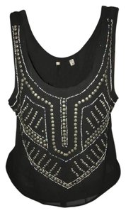 Urban Outfitters Sequin Beaded Embroidered Chic T Shirt Black