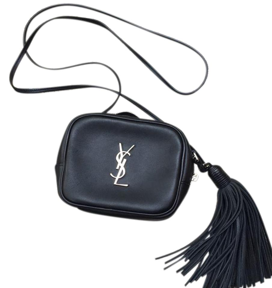5c424e22 Saint Laurent Monogram Ysl Blogger with Silver Hardware Black Leather Cross  Body Bag 23% off retail