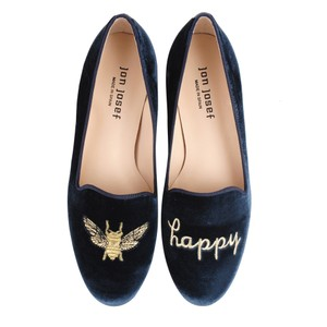 Jon Josef Leather Loafers Velvet Embroidered Stubbsandwootton Blue Flats