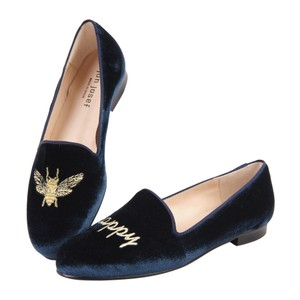 Free People Leather Loafers Velvet Embroidered Stubbsandwootton Blue Flats