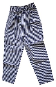 Zara Striped Comfortable Relaxed Trouser Pants Navy blue and white