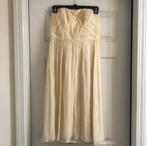 J.Crew Champagne Chiffon Feminine Bridesmaid/Mob Dress Size 2 (XS)