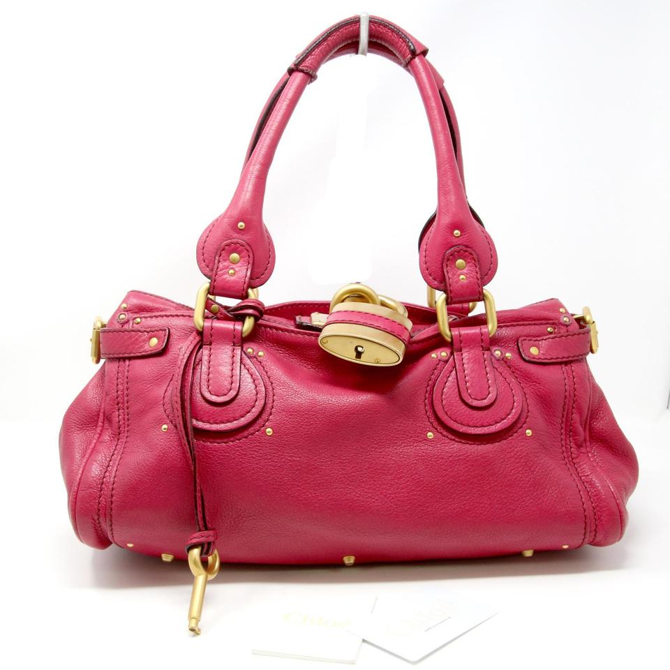 142989b970ce Chloé Paddington Pebbled Medium Satchel Pink Leather Shoulder Bag ...