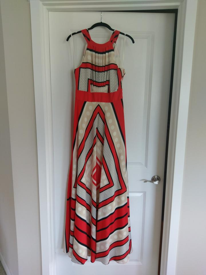92f6035464204 Eliza J Red/Multi Scarf Print Crepe De Chine Fit & Flare Long Cocktail  Dress Size 4 (S) 58% off retail