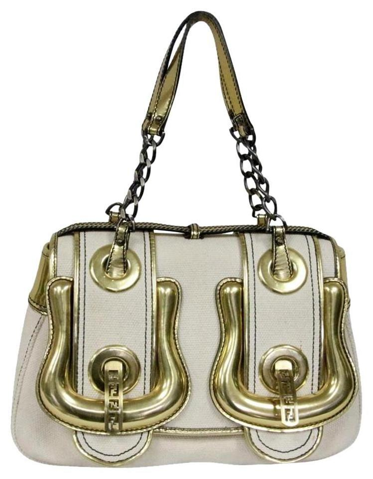 Fendi With Ff Metallic Gold and Chain Link Detail Handle Purse ... f7641d5a467d0