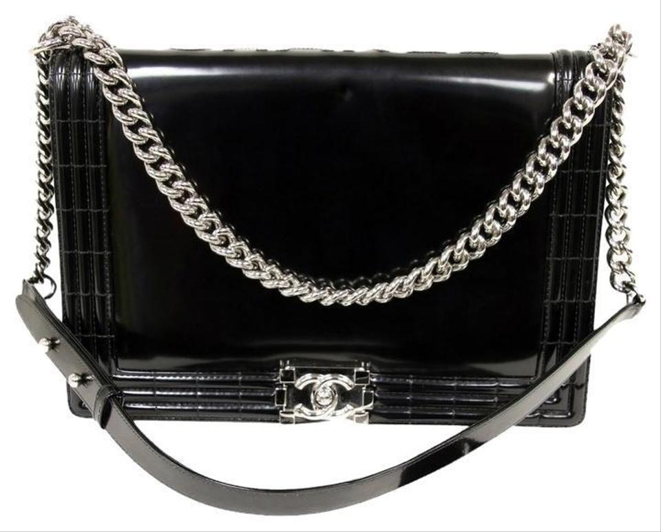 748293a149 Chanel Boy Jumbo Le Large Maxi Smooth Braid Chain Flap Cross Body Black  Patent Leather Shoulder Bag