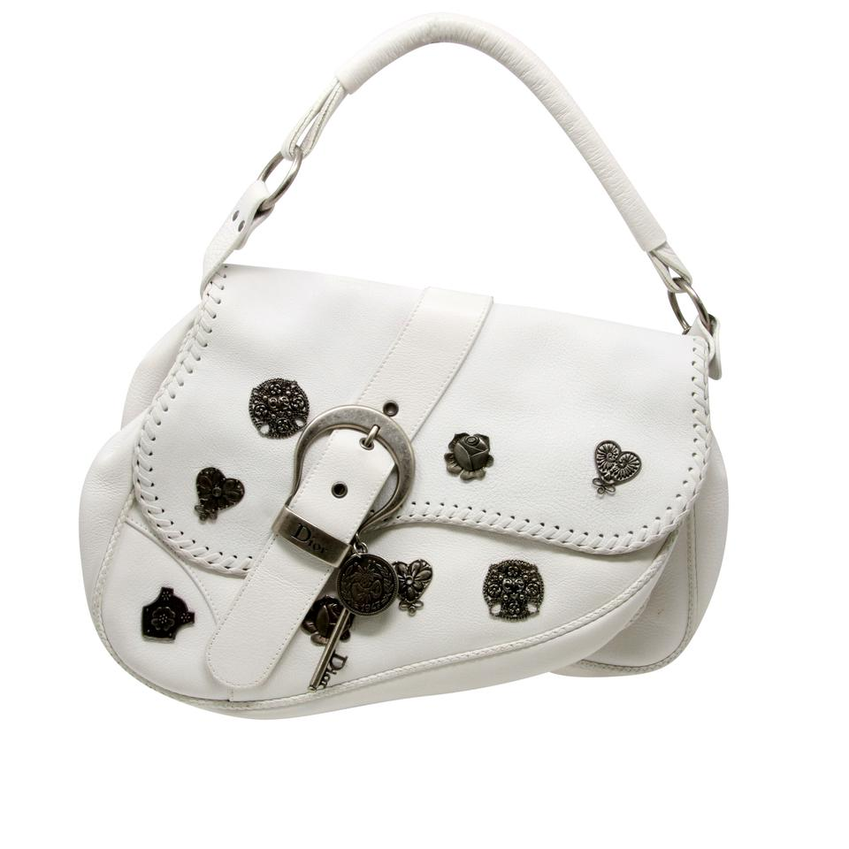 1a80667dfb2 Dior Christian Signature Edition Large Gaucho Silver Alpine Saddle White  Leather Shoulder Bag 90% off retail