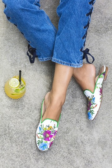 Free People Leather Gucci Slippers Flat Multi floral Mules Image 1