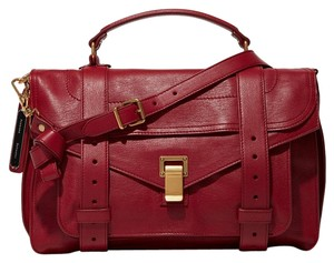 Proenza Schouler Classic Leather Goldtone Satchel in Red