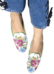 Free People Leather Gucci Slippers Flat Multi floral Mules