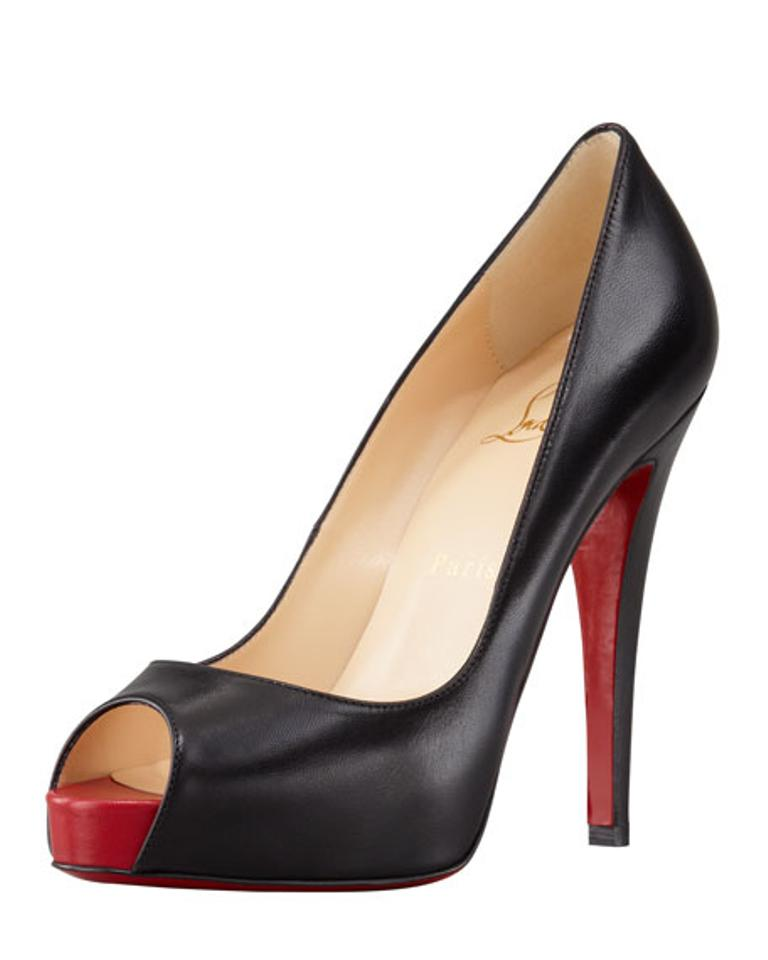sports shoes 7853e b87da Christian Louboutin Black Very Prive Leather Peep Toe Pumps Size US 7.5  Regular (M, B)