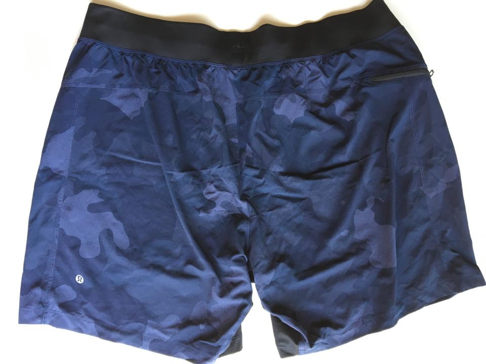 "Lululemon Navy/camo Men's T.h.e 9"" Linerless Sz Xxl Shorts"