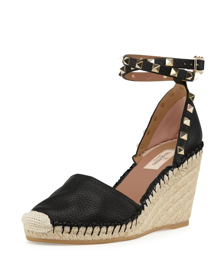 Valentino Wedges Black Rockstud Ankle-wrap Espadrille Wedges Valentino 889fae