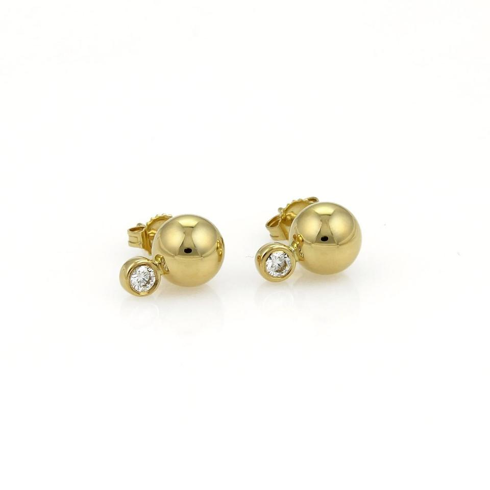 Diamond 18k Yellow Gold Ball Stud Earrings