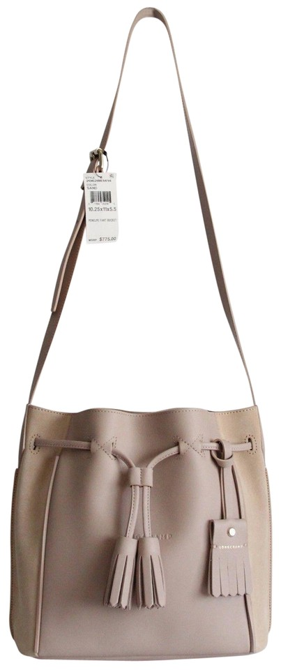 b5419543115a Longchamp Penelope Bucket Sand Leather Shoulder Bag - Tradesy