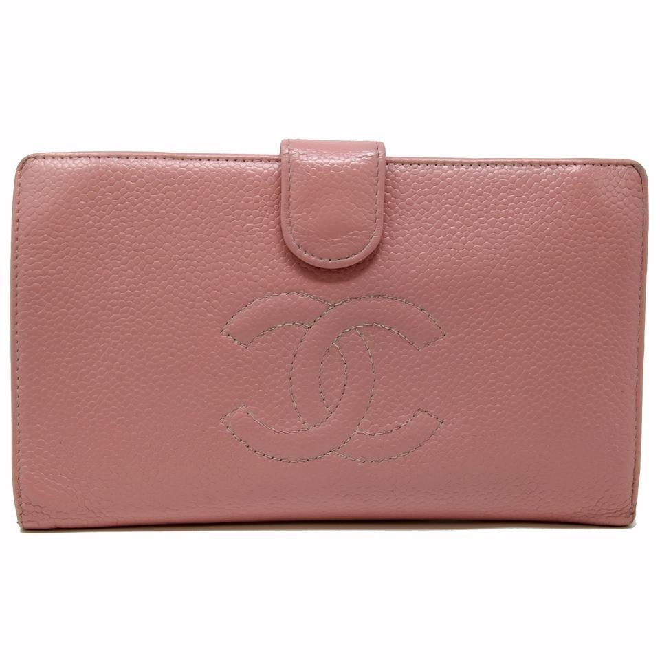 3c0d4ddc1bf5 Chanel Pink Signature Cc Caviar Leather Bi-fold Timeless Long French Wallet