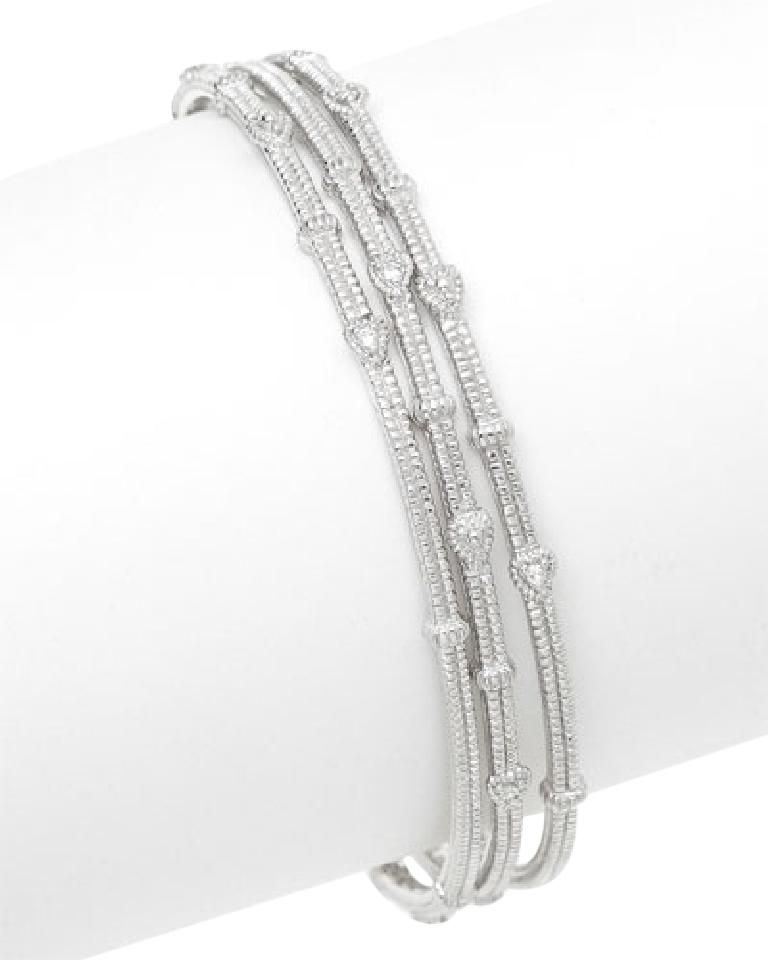 Judith Ripka Sterling Silver Textured Bangle Bracelets With Faceted White Shire