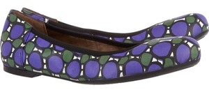 Marni Leather violet/green/black/white printed Flats