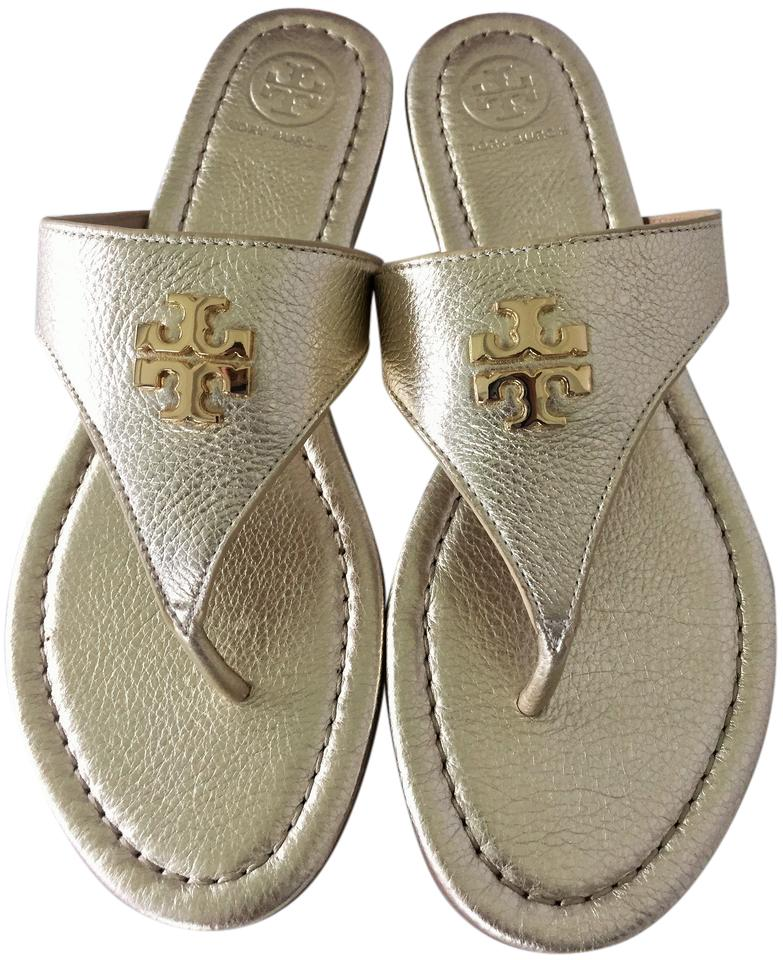 Tory Burch Spark Metallic Gold Laura Flat Thong Metallic Spark Tumbled Leather Sandals 7ea4df