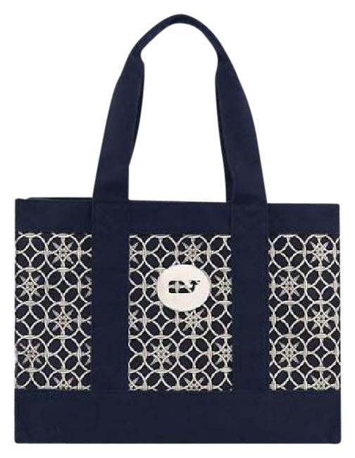 Item - Compass Print Navy & Ivory Canvas Tote