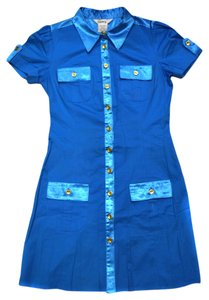 Speechless short dress Bight Blue Bright Spring Short Sleeves Summer Gold Accent Collar on Tradesy